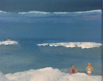 Oil Painting on Stretched Canvas, Beach Scene, Seascape