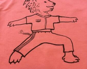 Little Yogi organic hip kids tees-Pink-Size 3T Tee Shirt-Lion Warrior Pose