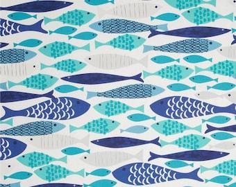 10.25 Yard - Michael Miller Lagoon Mod Fish CX5921-Blue-D 100% cotton - nautical - beach