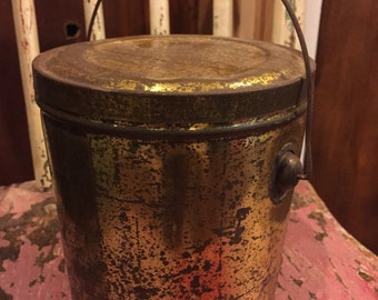 SHIPS FREE!! Small Gold Rustic Bucket