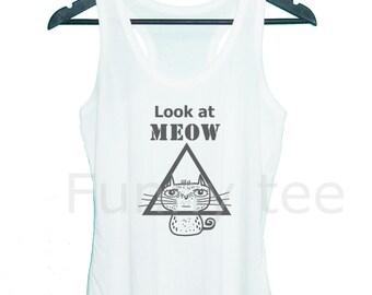 Triangle cat tank top look at meow singlet**sleeveless tank**racerback tank top**men women tank top