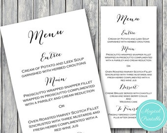 Wedding Menu Printable, Custom Wedding Menu Printable, Wedding Menu Template, Menu Cards, Printable Menu - TG00 WD01 TH00