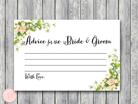 Advice For The Bride And Groom Card & Sign Printable Advice
