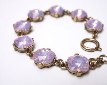 Milky opal lilac purple crystal antique gold bracelet