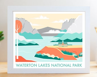 "Waterton Lakes National Park // 8x10"" Archival Print // Digital Illustration of Canadian National Park"