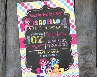 My Little Pony PRINTABLE Birthday Invitation -  Birthday Party Invitation - Customized Party Invitation (B123)