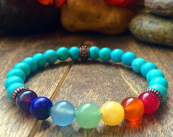 Turquoise Bracelet, Turquoise Bead Bracelet, Bracelet, Bead Bracelet, Chakra Bead Bracelet