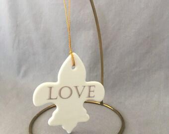 Fleur de lis LOVE Ornament