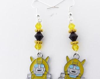 Autobot Bumblebee Swarovski crystal earrings kawaii cospay jewelry
