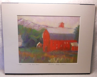 Sale! Vintage The Red Barn Print By Barbara Brock Hart Signed and Numbered