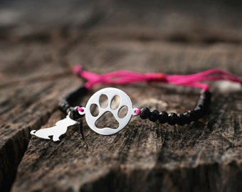 Adjustable  Dog Charm, Disk Paw Print and Glass Bead Bracelet /Silver, Gold Plated or Rose Plated Charm.