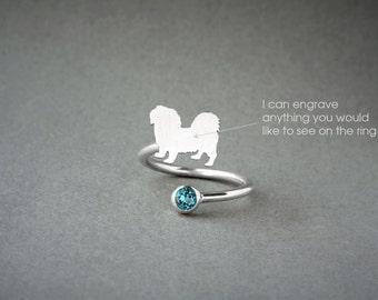 Adjustable Spiral PEKINGESE BIRTHSTONE Ring / Pekingese Shorthaired Birthstone Ring / Birthstone Ring / Dog Ring