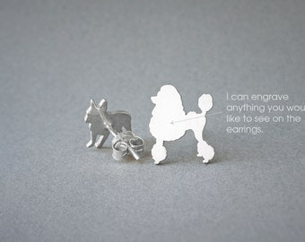 POODLE NAME Earring - Poodle Name Earrings - Personalised Earrings - Dog Breed Earrings - Dog Earring