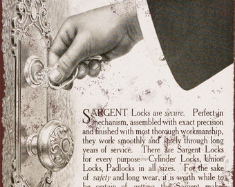 1911 Sargent Locks and Hardware Vintage Look Reproduction Metal Sign