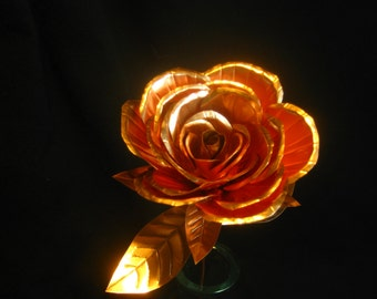 Hand crafted medium copper rose open center bud sculpture great for anniversaries or gifts for rose lovers.
