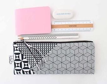 Black and white pencil case/Teen pencil pouch/Original ANJESY Designs.