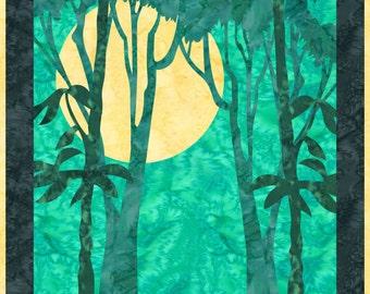 Nocturnal - Landscape Quilt Pattern Fusible Applique Art Quilt Pattern - INSTANT DOWNLOAD PDF