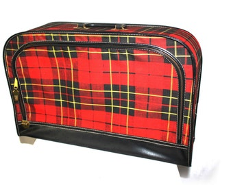 Vintage Suitcase, Red Tartan Plaid Luggage, Soft Case Vintage Storage