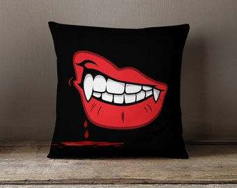 Dracula | Vampire Decor | Vampire Fangs | Halloween Gifts | Vampire Teeth | Vampire Gifts | Vampire Pillow | Vampire Throw PIllow