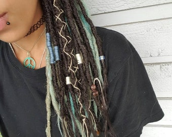 10 Natural Looking Synthetic Dreads, Natural Looking Dreadlocks, 10 SE or 5 DE Dread Extensions, Accent Dreadlock Extensions, Custom Order