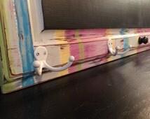 "Large Chalkboard 37"" x 20"" / Upcycled Cabinet Door / Large Message Board / Coat Rack"