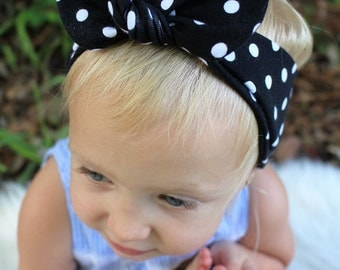black and white polka dot top knot headband infant/baby/toddler/girls