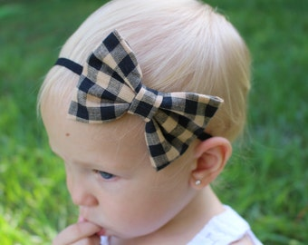 black and tan plaid bow headband