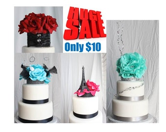 Seafoam Rose, Blue Rose, Kissing Ball, Silver, Clearance, HUGE SALE Just 10 dollars Cake Toppers, Over The Top Cake Topper