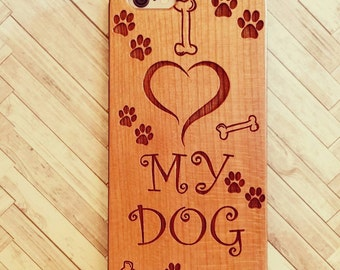 Laser Engraved I Love my Dog Paws and Treat on Genuine Wood phone Case for iPhone 5/S, 6/S and 6 plus IP-046