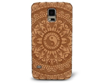 Laser Engraved Leafy Floral Tribal Aztec Mandala Yin Yang Pattern on Genuine Wood phone Case for Galaxy S5, S6 and S6Edge S-032