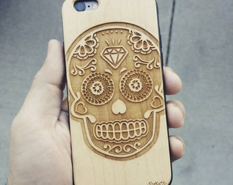 Laser Engraved Plumeria Floral Sugar Skull on Genuine Wood Cell phone Case for iPhone 5s, 6 and 6 plus IP-039