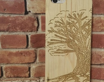 Hand Drawn Tree of Life Laser Engraved on Wood phone Case for IPHONE 6