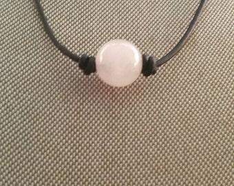 Black Leather Rose Quartz Bead Necklace