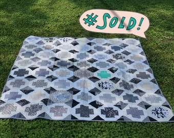 Handmade Black and White Modern Queen Sized Quilt