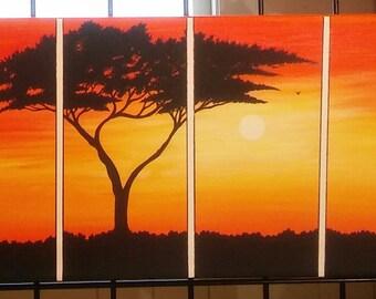 Africa safari at sunset