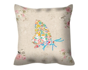 butterfly pillow kids pillow shabby chic pillow butterfly cushion cover throw pillow, shabby chic cushion, butterfly decorative pillow