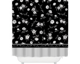 black and white shower curtain floral shower curtains flower shower curtain black and white bathroom decor rose decor rose shower curtain