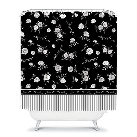 Black And White Shower Curtain Floral Shower Curtain Flower