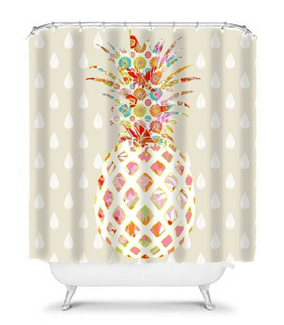 pineapple bathroom decor unique shower curtain pineapple. Black Bedroom Furniture Sets. Home Design Ideas
