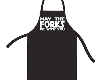 May the Forks Be With You Apron. Star Wars Bib. Star Wars inspire Cooking Gift Present.