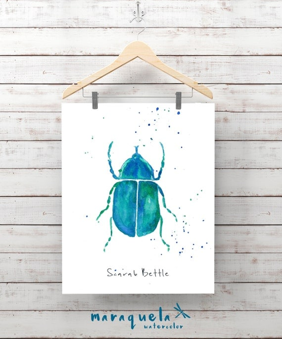 Blue SCARAB Beetle Illustration watercolor - Art print insects decor, wall room unique gift ideas, scarab,, insects watercolor, painting