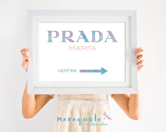 Prada Marfa PASTEL COLORS letters Inspired Wall Art Poster, Prada Marfa Gossip Girl, Marfa from NY distance Fashion Art, Girls Room Decor