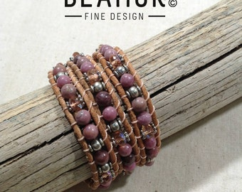 Rhodonite triple leather wrap