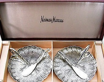 Marcus Neiman Godinger Silver Pllate Leaf Tray with Spreaders