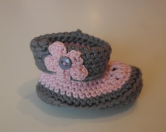 Pink and grey Baby Ankle Booties