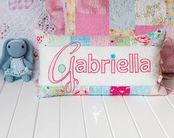 Custom Personalized Patchwork Linen Handquilted Pillow