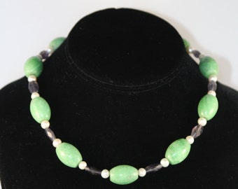 Oval Jade and Iolite Necklace