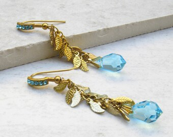 Crystal Drop Earrings Cluster Earrings Bridesmaids Earrings leaf Earrings Gold Earrings Turquoise Earrings Aquamarine Earrings