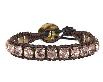 Swarovski Crystal Wrap Bracelet Swarovski Crystal Bracelet Leather Wrap Bracelets for Women Pink Crystal Bracelet Boho Leather Wrap Bracelet