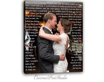 First Dance Photo on Canvas with Vows, Lyrics, Love Story, Wedding Song, Prayers. Valentine's Day Gift. Gallery Wrapped Canvas Print.